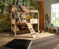 treehouse/clubhouse bed! and the wall mural! #bedroom #children #kids #treehouse
