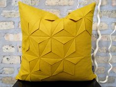 "Geometric Golden Yellow Wool Felt 18""x18"" Pillow Cover. $75.00, via Etsy."