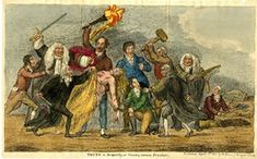 Truth in jeopardy, or power, versus freedom. DescriptionPlate from the 'Scourge', i. The naked body of Truth, badly wounded by axe-cuts, is supported by Lord Holland against the attacks of those who try to complete her murder. April 1811