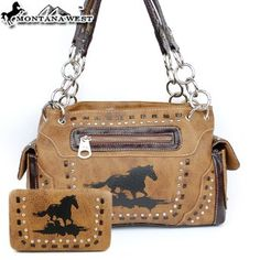 Montana West Cow Girl Horse Handbag in Brown Western Shoulder Purse with Wallet I bought this purse a couple weeks ago. It is beautiful. It is well made and has large compartments so it's easy to find things. The wallet is a nice addition. Although one of the stones on my wallet is a bit loose. I love this purse and wallet. I think it's a great buy for the money!