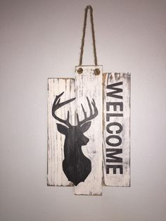 A personal favorite from my Etsy shop https://www.etsy.com/listing/268404634/deer-buck-head-silhouette-welcome-rustic