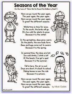 This seasons song could be used the same way as the weather song. I could have the students color the page and then laminate for later use. The students could sing the song each day of the unit! Seasons Lessons, Seasons Song, Seasons Of The Year, Weather Seasons, Preschool Weather, Preschool Music, Kindergarten Science, Seasons Kindergarten, Color Songs Preschool