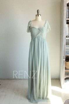 Bridesmaid chiffon Dress/removable cap sleeves by RenzRags on Etsy
