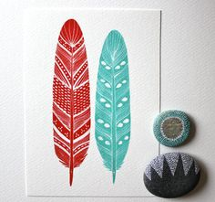 Love this feather painting! $20 Watercolor Feather Painting - Archival Art Print - 8x10 Malakai Feathers - red, turquoise, River Luna Art