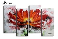 Framed Flower Oil Painting Hand-painted Canvas Wall Art Set 'Blowing In The Wind $49.9