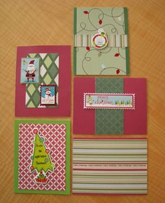 Home made Christmas cards using scrap booking materials