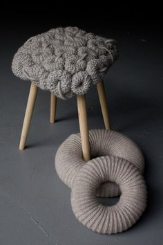 Modern Furniture Design by ClaireAnne OBrien, Designer Chairs and Stools with Knitted Cushions