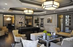 Camden Asbury Village offers a sophisticated lifestyle that comes with personalized service, modern-day conveniences, and sought-after amenities. Clubhouse Design, Dark Trim, Interior Architecture, Interior Design, Tile Trim, Senior Living, Beautiful Space, House Colors, Color Inspiration