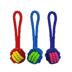 Woven Rope/Rubber Ball w/Tug in Various Styles Available in assorted colors Size: 3.25""