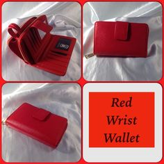 Apple Red Wallet This adorable wallet features four tiny slip compartments on one side and other side holds credit cards and identification cards. Includes a wrist strap. Gold tone zipper closure. Measures: 6.5 W X 4H (This closet does not trade or use PayPal ) Bags Wallets