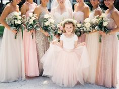 The sweetest flower girl wearing a blush tulle gown and baby's breath flower crown! |  Esther Louise Photography