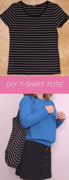 Snip, sew, schlep and you have a tote from a t-shirt. Art Projects For Teens, Easy Art Projects, Crafts For Teens, Sewing Projects, Custom Tote Bags, Diy Arts And Crafts, Diy Crafts, Crafty Craft, T Shirt Diy