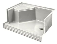 """Kohler K-9488 Memoirs 48"""" shower receptor with integral seat at left and right-h"""