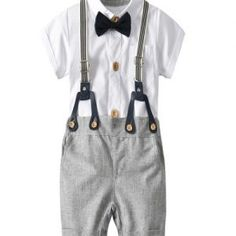 Xifamniy Baby Boys Gentleman Outfits Formal Set Short Sleeve Shirt with Bow Tie and Bib Suspender Pants Infant Wedding Suit Bow Tie Shirt, Formal Suits, Formal Tuxedo, Baby Girl Shower Themes, Baby Shower, Suspender Pants, Party Suits, Family Photo Outfits, Cake Smash Outfit