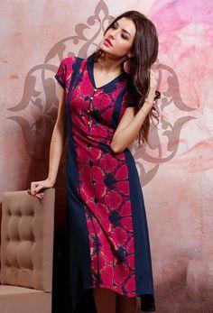 Readymade Pink And Navy Blue Cotton Rayon Printed Kurti Kurtis Online India, Long Kurtis Online, Designer Kurtis Online, Lehenga, Anarkali, Pink Kurti, Printed Kurti, Buy Dress, Indian Wear