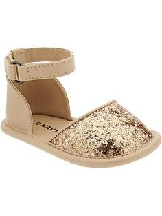Gold-Glitter Sandals for Baby  Avery needs these to match the pink shirt and corduroy pants I want to get her.