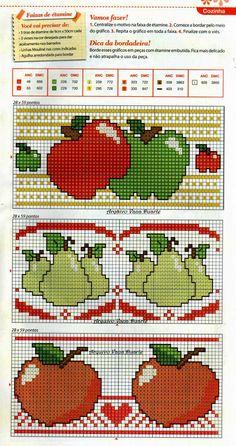Frutas Cross Stitch Fruit, Cross Stitch Kitchen, Cross Stitch Borders, Cross Stitching, Cross Stitch Embroidery, Cross Stitch Patterns, Needlepoint Patterns, Embroidery Patterns, Square Patterns