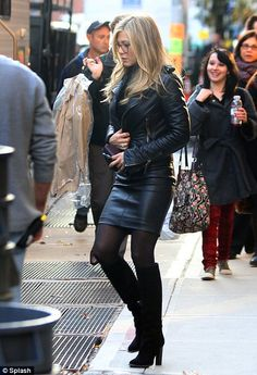 Hell for leather: Jennifer wore head to toe leather as she filmed new movie Wanderlust in New York earlier today