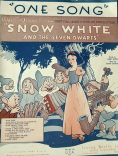 "Vintage Sheet Music. Walt Disney. Snow White. ""One Song"". 1937 Larry Morey and Frank Churchill. Irving Berlin Inc. Music"