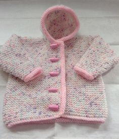Hand knitted baby hooded jacket - Newborn size