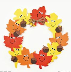11 All craft kit pieces are pre-pac… Foam Smile Face Leaves Wreath Craft Kit. 11 All craft kit pieces are pre-packaged for individual use. Kits include instructions and extra pieces. Thanksgiving Crafts For Kids, Holiday Crafts, Autumn Crafts For Kids, Thanksgiving Decorations, Fall Crafts For Preschoolers, Crafts Toddlers, Fall Crafts For Toddlers, Autumn Activities For Kids, Thanksgiving Turkey