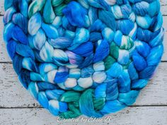 Water Sprite - Hand dyed Superwash Merino / Alpaca / Nylon / Silk combed top. Good for spinning yarn, felting, blending