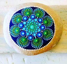 Hand painted Dot art flower design. Now in my shop #P4MirandaPitrone #etsy #etsyshop #mandala #paintingrocks #rockpainting #stoneismycanvas #stonepainting #photography #dotart #art #handmade #handpainted #follow #me #design #love #flower #blue #green