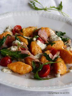 Fabuleuse zum Dritten: Süßkartoffel-Nocken mit Rucola, Gorgonzola und Schinken