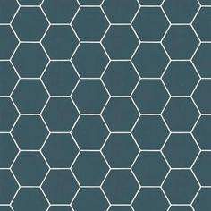 Vliesbehang honingraat blauw (dessin 101671) | Behang | Behang | KARWEI