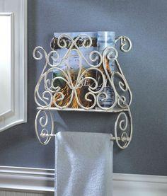 Shabby Cottage Chic Towel Holder Magazine Rack