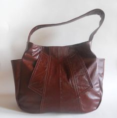 Leather Purse RECYCLED Shoulder Sac Mahogany Brown w/Side Pockets SOOT