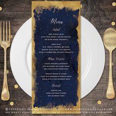 Starry Night Constellation Wedding Menu, Navy Blue and Gold Celestial Stars Wedding Menu, Galaxy Astronomy Wedding Menu by Soumya's Invitations