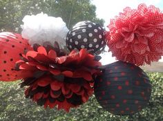 Lady Bug 3 Tissue Paper Poms and 3 Decorated Paper by 1PomPomGirl
