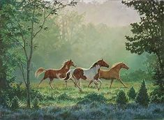 """""""Caught in the early morning sun, these horses are enjoying galloping through the meadow."""" Original oil by Chris Cummings."""