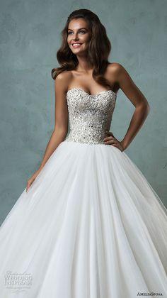 amelia sposa 2016 wedding dresses strapless sweetheart neckline beaded bodice romantic pretty a line ball gown wedding dress lauretta closeup