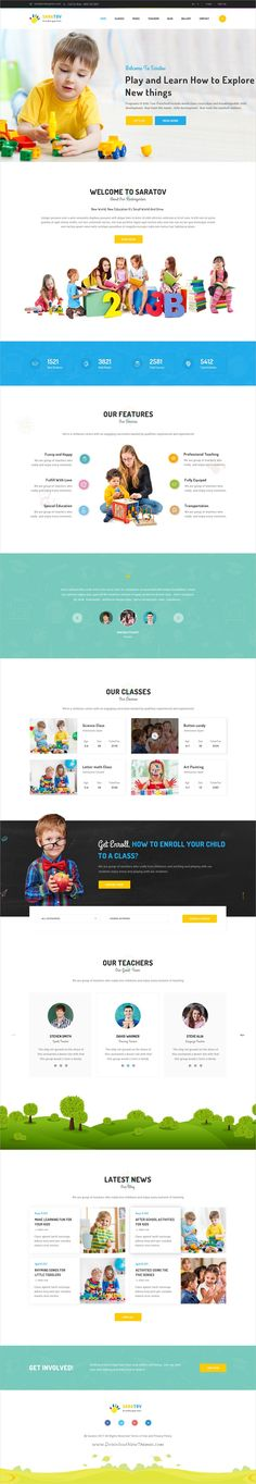Saratov is a wonderful #Photoshop template for #kindergarten, preschool, #daycare or play schools website with 12+ layered PSD files download now➩ https://themeforest.net/item/saratov-kindergarten-psd-template/19802205?ref=Datasata