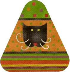 click here to view larger image of Cat Head Candy Corn (hand painted canvases)