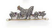 AN EDWARDIAN ROSE-CUT DIAMOND, RUBY AND PEARL HEN AND CHICKS BROOCH  the central mother hen flanked by four chicks, each with ruby eye, mounted in silver and gold on a gold ground with pearl terminals.