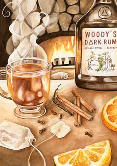 illustration of This illustration was done for the 'Venue to Menu' issue for the zine 'Gutfeelings', illustrating Woody from the band Bastille's recipe for 'Winter Tea Punch'