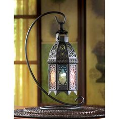 Wholesale Rainbow Color Glass Black Wrought Iron Moroccan Lantern Stand