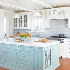 Duck egg and white cabinets (paint island/bar and shutters in family room the same blue)