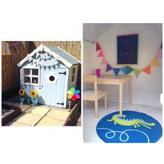 Boy's blue and white playhouse. | wendy house decoration ideas | garden toys . Thank you to our customer Danielle for sending us this photo of her Waltons Snug Playhouse that she bought for her son Noah.