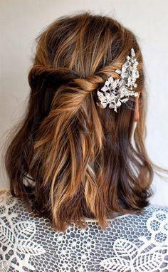 """Résultat de recherche d'images pour """"idée coiffure mariée cheveux mi long"""""""