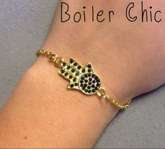 Hamsa Hand Gold and Navy Blue Chain Bracelet by BoilerChic on Etsy, $15.00