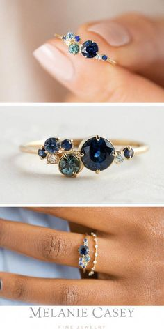 verlobungsring alternative A blue sapphire is the center of this unique cluster ring, surrounded by white diamonds, sapphires, and blue zircons. Set in gold, this design is gorgeous as an alternative engagement ring! Rose Gold Engagement Ring, Engagement Ring Settings, Vintage Engagement Rings, Vintage Rings, Vintage Jewelry, Morganite Engagement, Diamond Bands, Diamond Wedding Bands, Halo Diamond