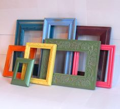 collection of rescued vintage frames painted in colors inspired by the art of Frida Kahlo from MandolinGoose on etsy $58