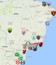 2021 Serie A Brazil Map Sports Logo, Logos, Team Logo, Soccer, Club, Manaus, Bahia, Fortaleza, Norte