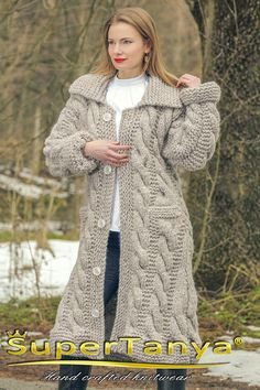 Hand knitted mohair wool cardigan in beige thick chunky