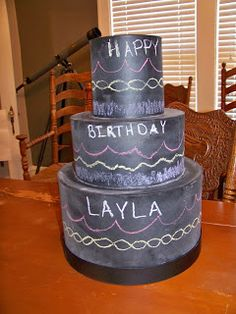 Such a cute idea! Chalkboard Cake