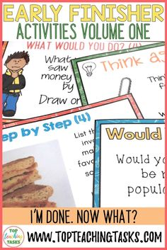 Early Finishers Activities Task Cards and Fast Finisher Activities Early Finishers Activities, Enrichment Activities, Fast Finishers, Higher Order Thinking, Persuasive Writing, Primary Classroom, Now What, Thinking Skills, Teaching Materials